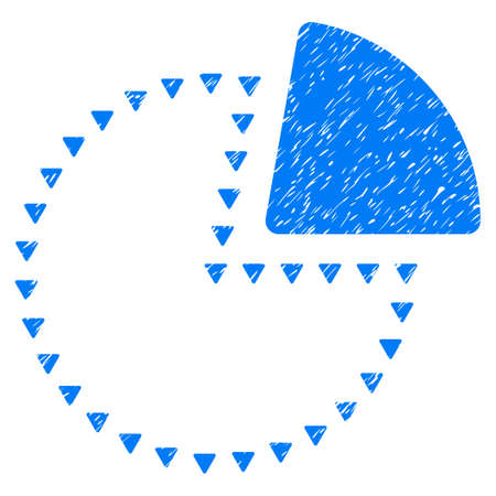 Grunge Dotted Pie Chart icon with grunge design and unclean texture. Unclean raster blue pictogram for rubber seal stamp imitations and watermarks. Draft emblem dotted pie chart symbol.