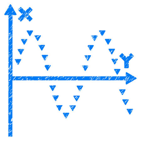 Grunge Dotted Sine Plot icon with grunge design and dirty texture. Unclean raster blue pictogram for rubber seal stamp imitations and watermarks. Draft sign dotted sine plot symbol.