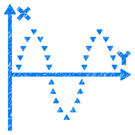 Grunge gepunktete Sinusoid Plot Symbol mit Grunge-Design und schmutzige Textur. Unreines blaues Piktogramm für Gummistempel Stempelimitationen und Wasserzeichen. Entwurfsaufkleber punktiertes sinusförmiges Diagrammsymbol. Standard-Bild - 80626505