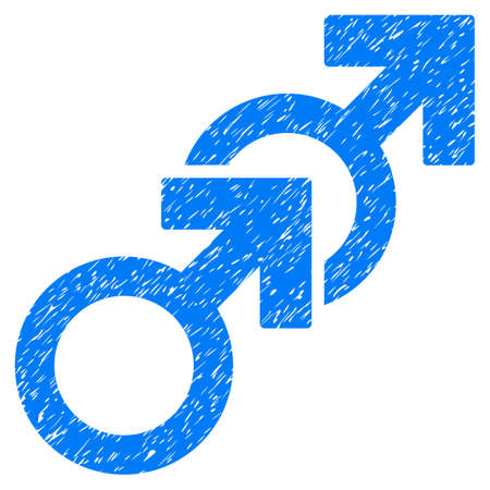 homosexual sex: Grunge Gay Sex icon with grunge design and unclean texture. Unclean raster blue pictogram for rubber seal stamp imitations and watermarks. Draft emblem gay sex symbol. Stock Photo