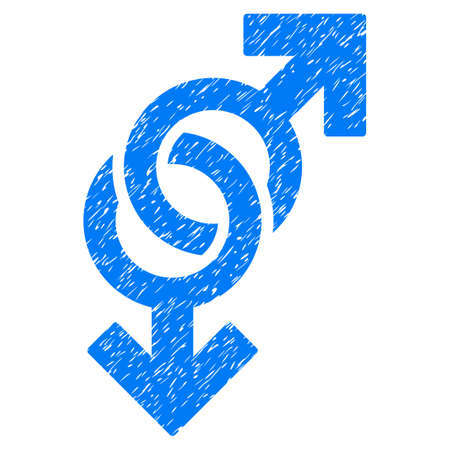 homosexual sex: Grunge Gay Symbol icon with grunge design and dirty texture. Unclean raster blue pictogram for rubber seal stamp imitations and watermarks. Draft emblem gay symbol symbol.