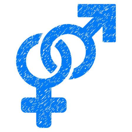 Grunge Heterosexual Symbol icon with grunge design and dust texture. Unclean raster blue pictogram for rubber seal stamp imitations and watermarks. Draft emblem heterosexual symbol symbol. Stock Photo