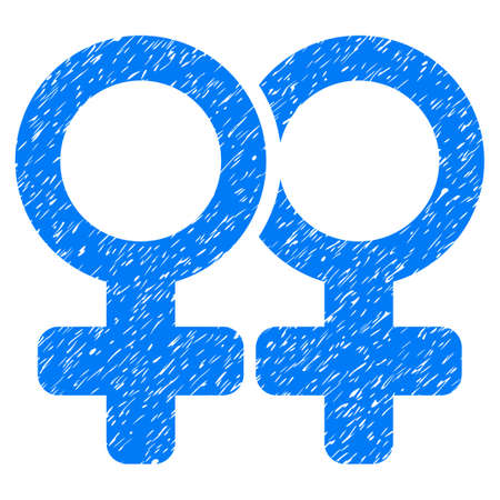 Grunge Lesbi Pair icon with grunge design and dust texture. Unclean raster blue pictogram for rubber seal stamp imitations and watermarks. Draft sign lesbi pair symbol.