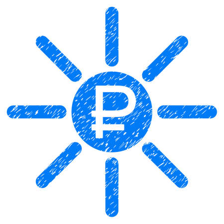 Grunge Rouble Source icon with grunge design and dirty texture. Unclean raster blue pictogram for rubber seal stamp imitations and watermarks. Draft sign rouble source symbol.