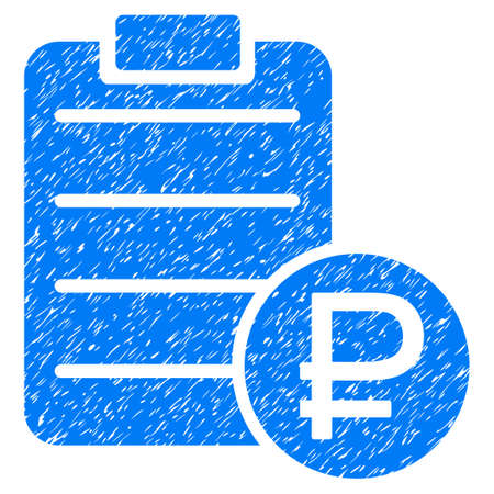 financial item: Grunge Rouble Price List icon with grunge design and dust texture. Unclean raster blue pictogram for rubber seal stamp imitations and watermarks. Draft emblem rouble price list symbol. Stock Photo