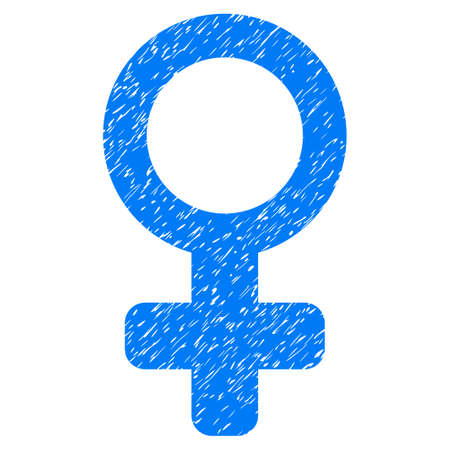raster sex: Grunge Venus Symbol icon with grunge design and dust texture. Unclean raster blue pictogram for rubber seal stamp imitations and watermarks. Draft sign venus symbol symbol.