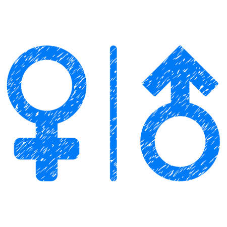 Grunge WC Gender Symbols icon with grunge design and dust texture. Unclean raster blue pictogram for rubber seal stamp imitations and watermarks. Draft sticker wc gender symbols symbol.