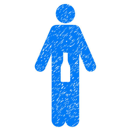 cleanliness: Grunge WC Man icon with grunge design and dust texture. Unclean raster blue pictogram for rubber seal stamp imitations and watermarks. Draft sign wc man symbol.