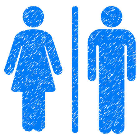 Grunge WC Persons icon with grunge design and scratched texture. Unclean raster blue pictogram for rubber seal stamp imitations and watermarks. Draft emblem wc persons symbol.