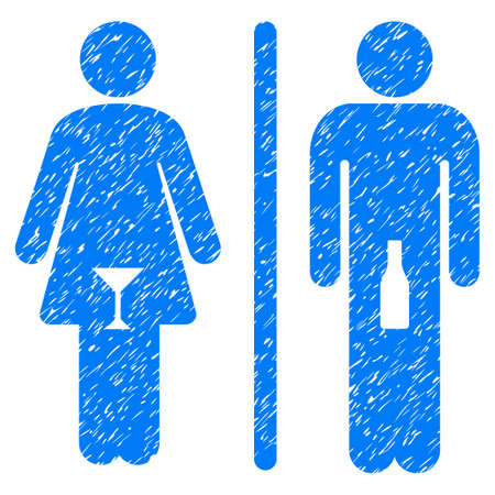 Grunge WC Persons icon with grunge design and dust texture. Unclean raster blue pictogram for rubber seal stamp imitations and watermarks. Draft sign wc persons symbol.