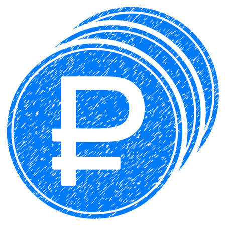 rub: Grunge Rouble Coins icon with grunge design and unclean texture. Unclean raster blue pictogram for rubber seal stamp imitations and watermarks. Draft sticker rouble coins symbol.