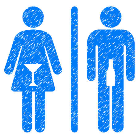 Grunge WC Persons icon with grunge design and dirty texture. Unclean raster blue pictogram for rubber seal stamp imitations and watermarks. Draft sign wc persons symbol.