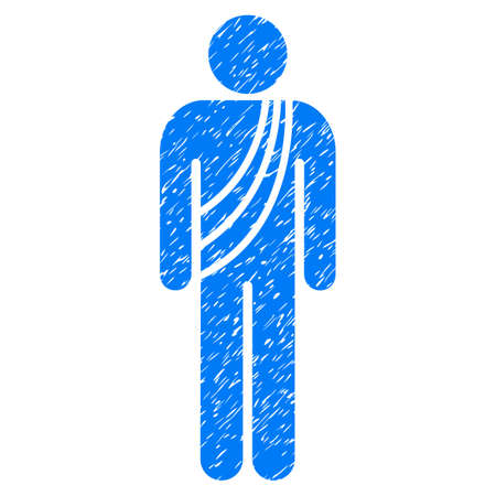 meditation man: Grunge Buddhist Monk icon with grunge design and dust texture. Unclean vector blue pictogram for rubber seal stamp imitations and watermarks. Draft sticker buddhist monk symbol. Illustration