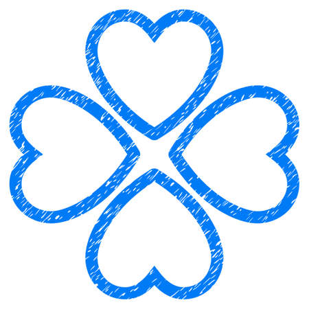 Grunge Love Hearts icon with grunge design and scratched texture. Unclean vector blue pictogram for rubber seal stamp imitations and watermarks. Draft sign love hearts symbol. Illustration