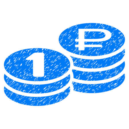 rub: Grunge Rouble Coin Stacks icon with grunge design and scratched texture. Unclean vector blue pictogram for rubber seal stamp imitations and watermarks. Draft sticker rouble coin stacks symbol.