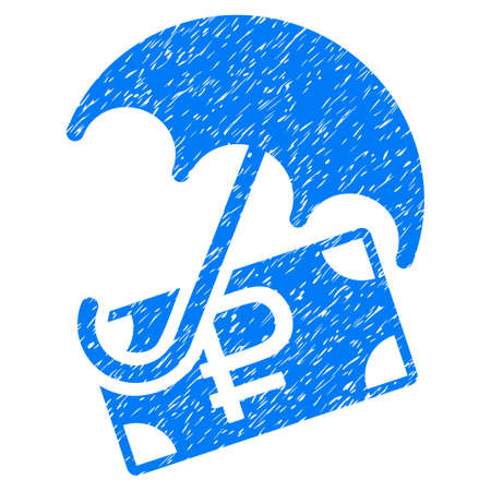 rouble: Grunge Rouble Financial Safety icon with grunge design and scratched texture. Unclean vector blue pictogram for rubber seal stamp imitations and watermarks.