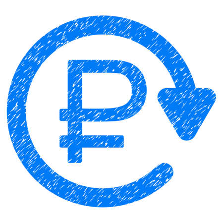 rouble: Grunge Rouble Recurring Payment icon with grunge design and dust texture. Unclean vector blue pictogram for rubber seal stamp imitations and watermarks. Draft emblem rouble recurring payment symbol.