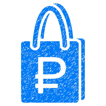corrosion: Grunge Rouble Shopping icon with grunge design and scratched texture. Unclean vector blue pictogram for rubber seal stamp imitations and watermarks. Draft emblem rouble shopping symbol.