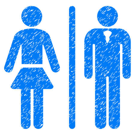 Grunge Toilet Persons icon with grunge design and dust texture. Unclean vector blue pictogram for rubber seal stamp imitations and watermarks. Draft emblem toilet persons symbol. Illustration