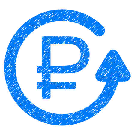 Grunge Rouble Chargeback icon with grunge design and dust texture. Unclean vector blue pictogram for rubber seal stamp imitations and watermarks. Draft sticker rouble chargeback symbol.