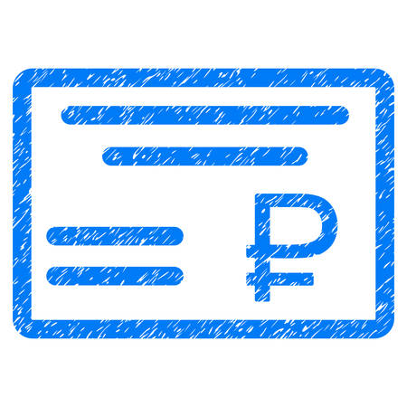 Grunge Rouble Cheque icon with grunge design and dirty texture. Unclean vector blue pictogram for rubber seal stamp imitations and watermarks. Draft sign rouble cheque symbol.