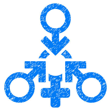Grunge Triple Penetration Sex icon with grunge design and dirty texture. Unclean vector blue pictogram for rubber seal stamp imitations and watermarks. Draft emblem triple penetration sex symbol. Illustration