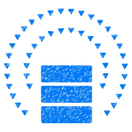 Grunge Database Sphere Shield icon with grunge design and scratched texture. Unclean vector blue pictogram for rubber seal stamp imitations and watermarks. Draft sticker database sphere shield symbol.