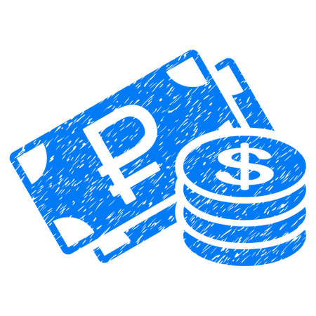 Grunge Rouble And Dollar Cash icon with grunge design and unclean texture. Unclean vector blue pictogram for rubber seal stamp imitations and watermarks. Draft sticker rouble and dollar cash symbol.