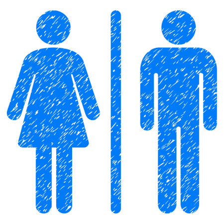 Grunge WC Persons icon with grunge design and unclean texture. Unclean vector blue pictogram for rubber seal stamp imitations and watermarks. Draft sticker wc persons symbol. Illustration