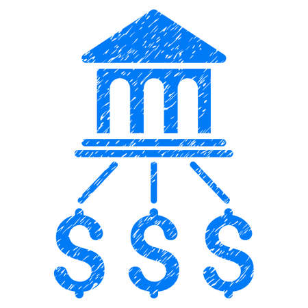 association: Grunge Bank Scheme icon with grunge design and unclean texture. Unclean raster blue pictogram for rubber seal stamp imitations and watermarks. Draft sticker bank scheme symbol. Stock Photo