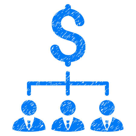 Grunge Banker Links icon with grunge design and unclean texture. Unclean raster blue pictogram for rubber seal stamp imitations and watermarks. Draft emblem banker links symbol.