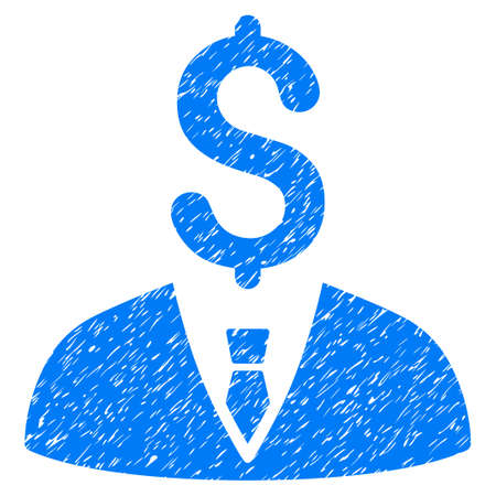 moneymaker: Grunge Businessman icon with grunge design and unclean texture. Unclean raster blue pictogram for rubber seal stamp imitations and watermarks. Draft emblem businessman symbol.