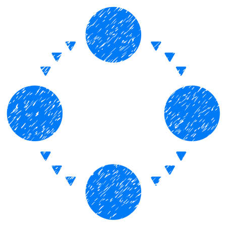 Grunge Circular Relations icon with grunge design and unclean texture. Unclean vector blue pictogram for rubber seal stamp imitations and watermarks. Draft sticker circular relations symbol.