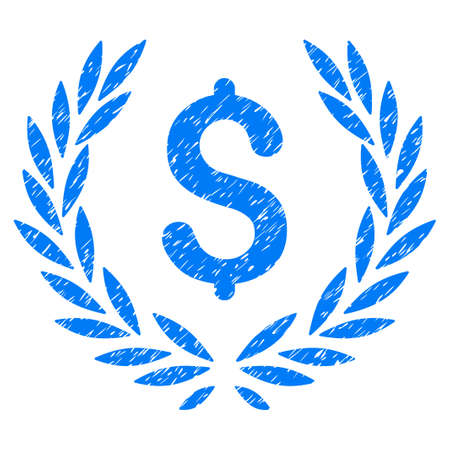 Grunge Financial Laurel Wreath icon with grunge design and unclean texture. Unclean raster blue pictogram for rubber seal stamp imitations and watermarks. Draft emblem financial laurel wreath symbol.