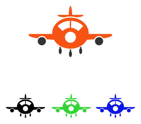 Aircraft vector icon. Illustration style is a flat iconic colored symbol with different color versions.