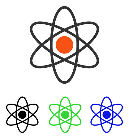 Atom vector pictogram. Illustration style is a flat iconic colored symbol with different color versions.