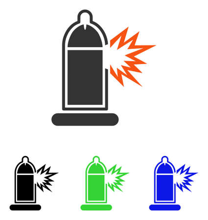 Condom Penis Break vector pictogram. Illustration style is a flat iconic colored symbol with different color versions.