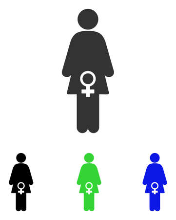 Female Fertility vector pictogram. Illustration style is a flat iconic colored symbol with different color versions.