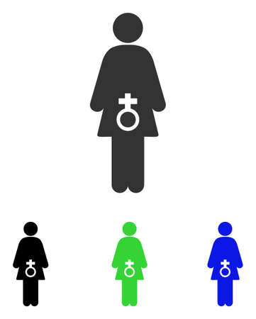 Female Sexual Disfunction vector icon. Illustration style is a flat iconic colored symbol with different color versions.