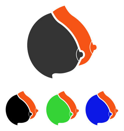 Female Tits vector pictograph. Illustration style is a flat iconic colored symbol with different color versions.