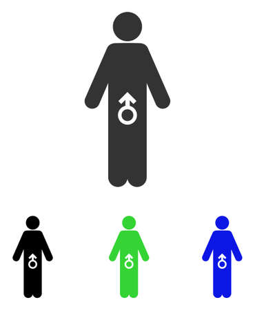 Male Potence vector pictograph. Illustration style is a flat iconic colored symbol with different color versions.