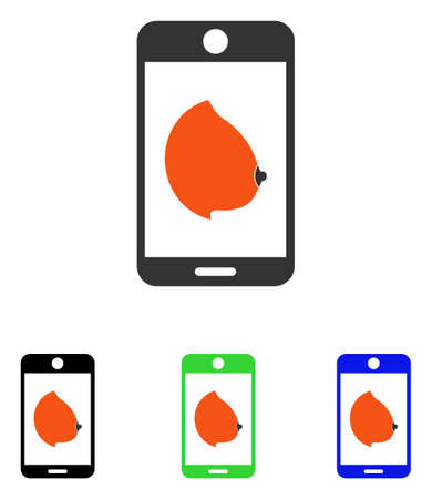Mobile Erotic Tit vector pictogram. Illustration style is a flat iconic colored symbol with different color versions. Illustration