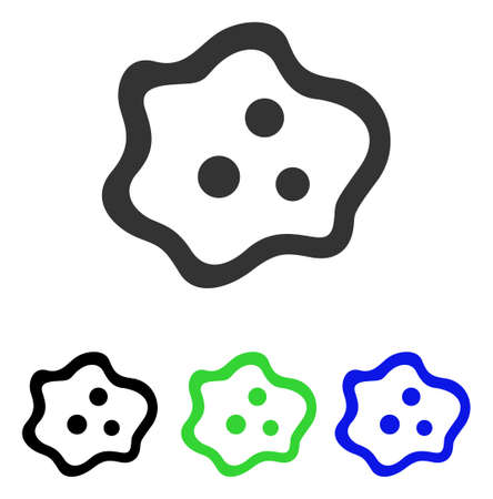 ameba: Amoeba vector icon. Illustration style is a flat iconic colored symbol with different color versions.