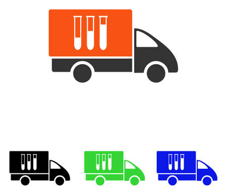 Analysis Delivery vector pictograph. Illustration style is a flat iconic colored symbol with different color versions.