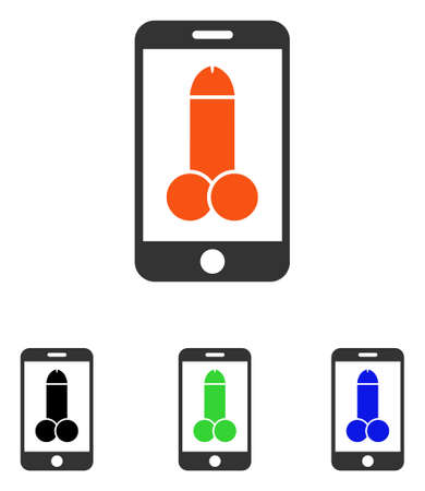Mobile Porno vector pictogram. Illustration style is a flat iconic colored symbol with different color versions. Illustration