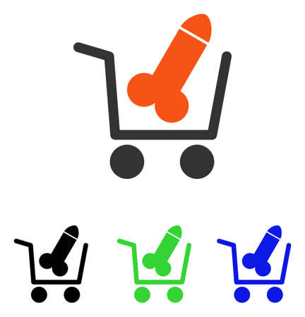 Sex Shopping vector pictograph. Illustration style is a flat iconic colored symbol with different color versions.