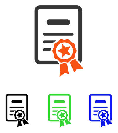attest: Certified Diploma vector icon. Illustration style is a flat iconic colored symbol with different color versions.