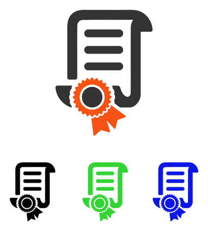 attest: Certified Scroll Document vector pictogram. Illustration style is a flat iconic colored symbol with different color versions.