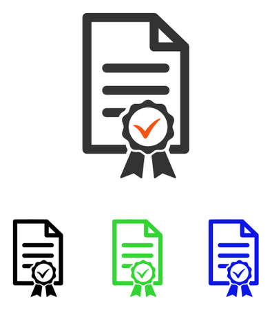 attest: Certified vector pictogram. Illustration style is a flat iconic colored symbol with different color versions.