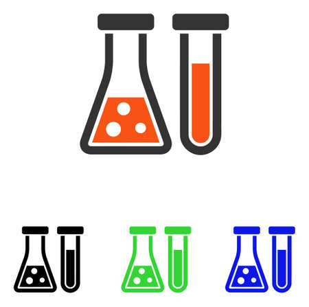 Chemistry vector pictogram. Illustration style is a flat iconic colored symbol with different color versions.